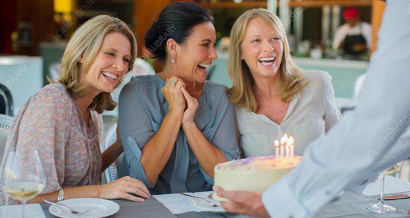 Mature women celebrating birthday