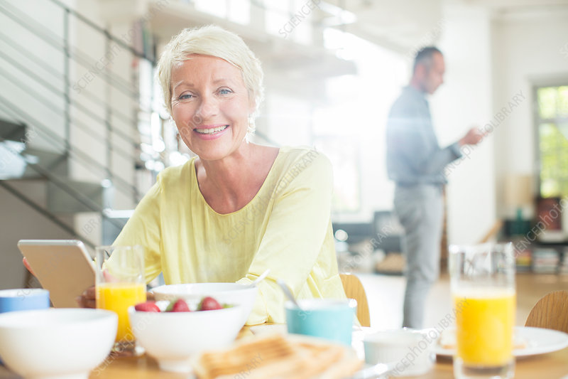 Older woman at breakfast table