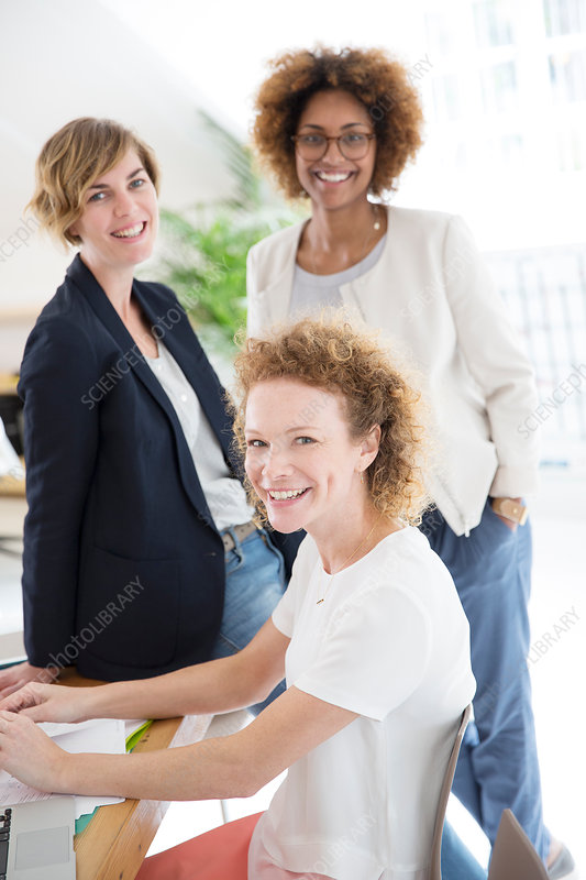 Portrait of three women, smiling