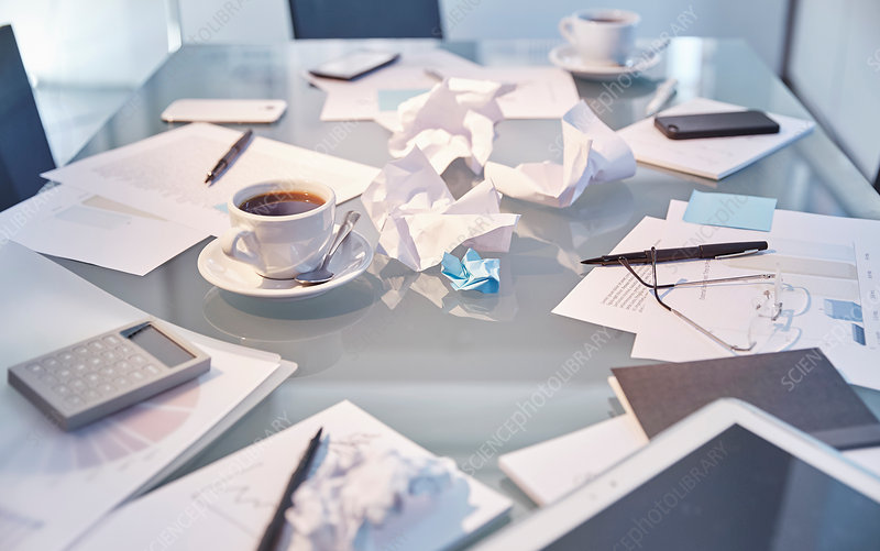 Messy table of modern office
