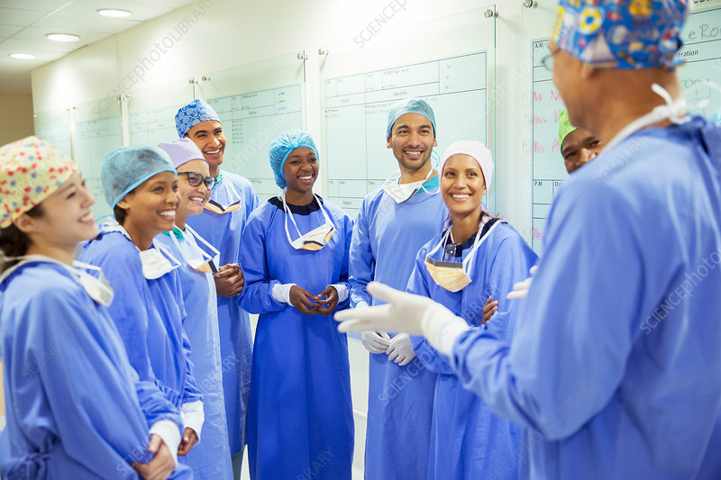 Surgeons meeting in hospital