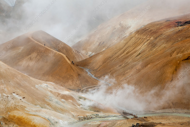 Steam arising from geothermal mountains