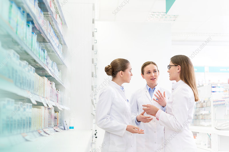 Pharmacists consulting in pharmacy