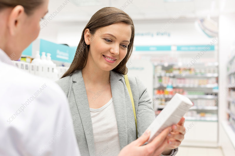 Pharmacist recommending product