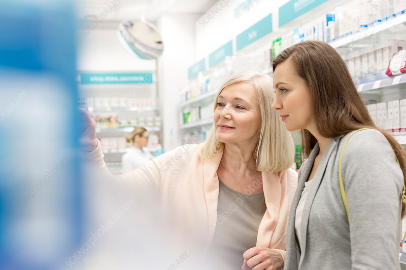 Customers shopping in pharmacy
