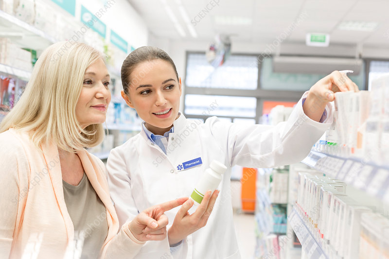 Pharmacist recommending products