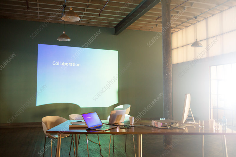 Collaboration text on presentation screen