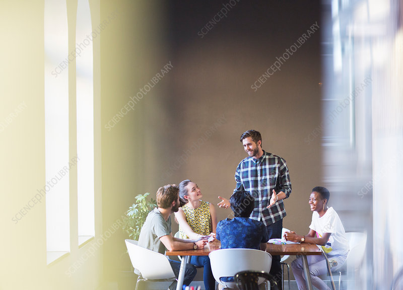 Businessman leading meeting