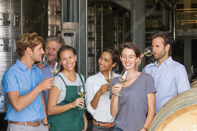 Winery employees tasting white wine
