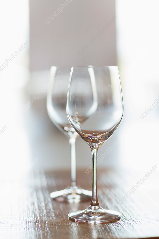 Close up two empty wine glasses