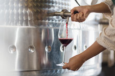 Vintner barrel tasting red wine from stainless steel vat