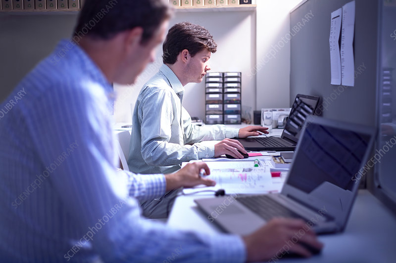 Architects working at laptops at desk