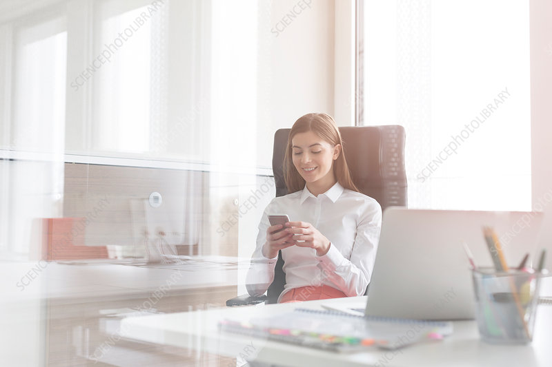 Businesswoman texting in sunny office