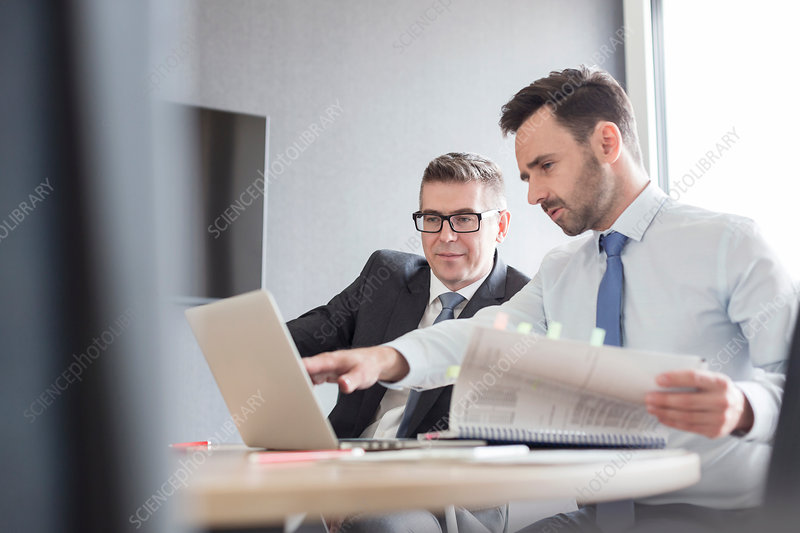 Businessmen with report working at laptop