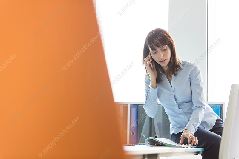 Brunette businesswoman talking