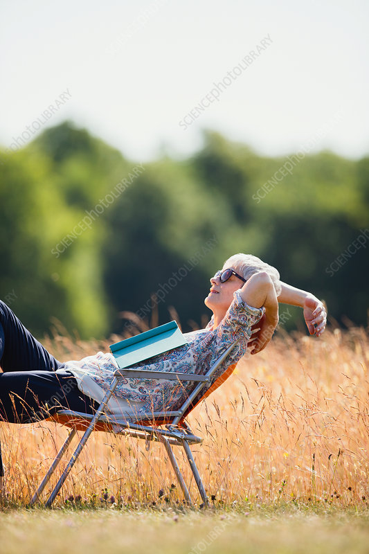 Carefree senior woman relaxing