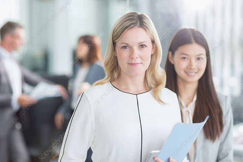 Portrait smiling businesswomen in office