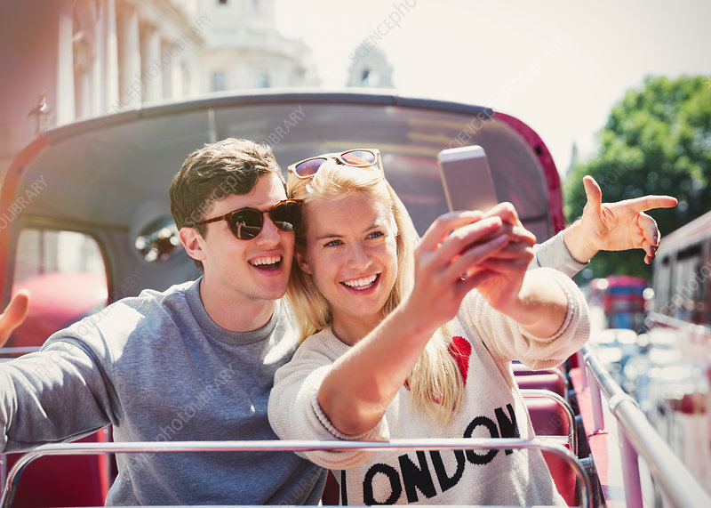 Couple taking selfie in London