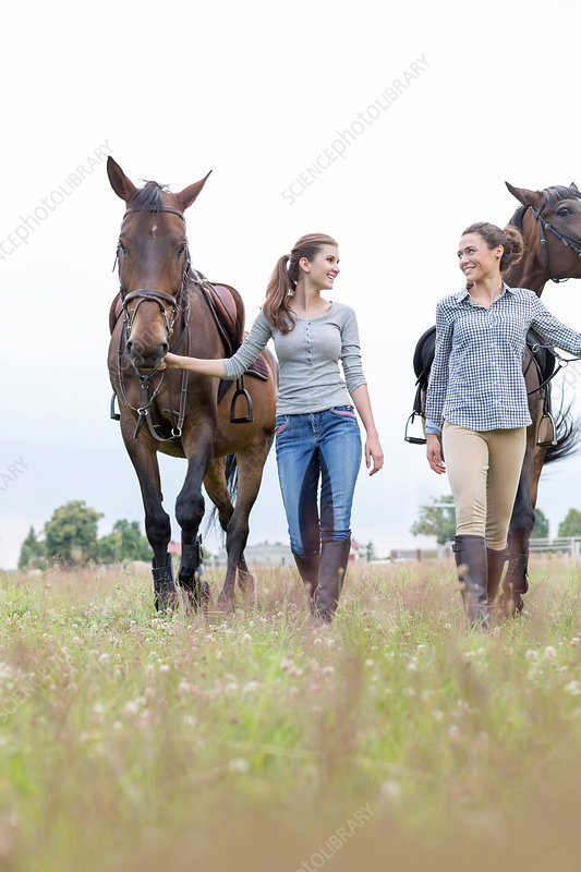 Women walking horses in rural field