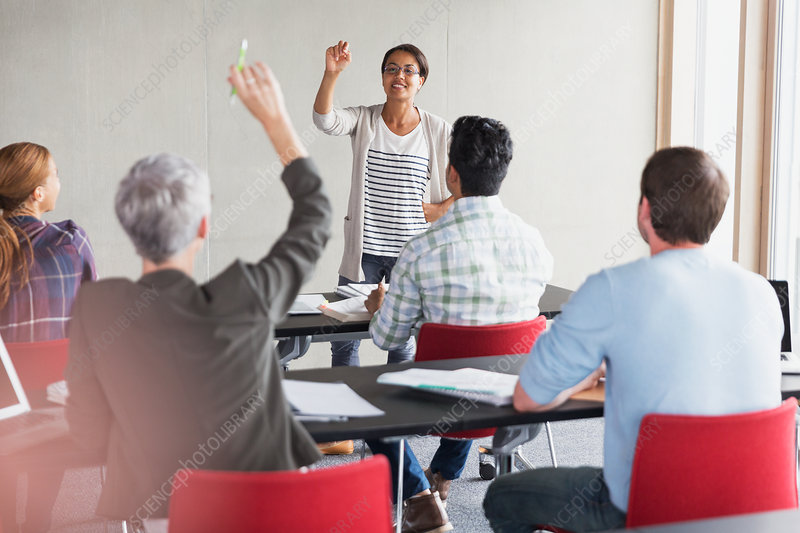 Teacher calling on pupil with hand raised