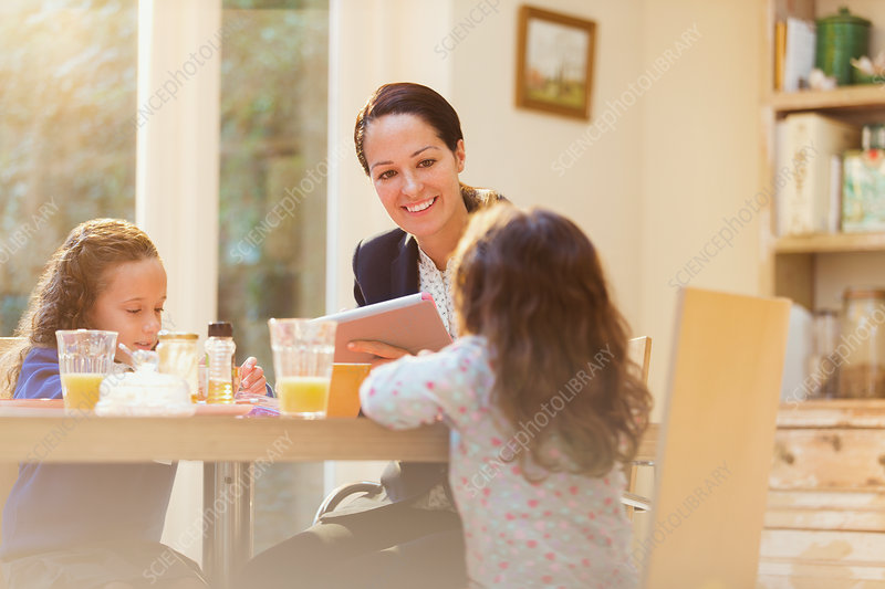 Working mother and daughters