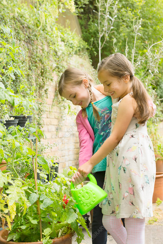 Girls watering plants in garden