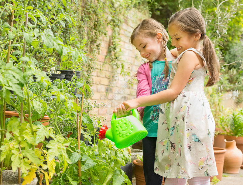 Hugging girls watering plants in garden