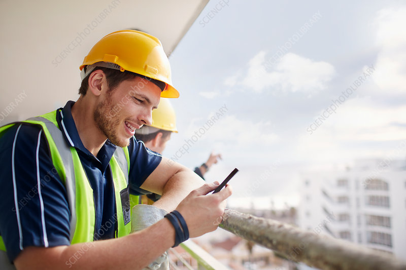 Construction worker texting