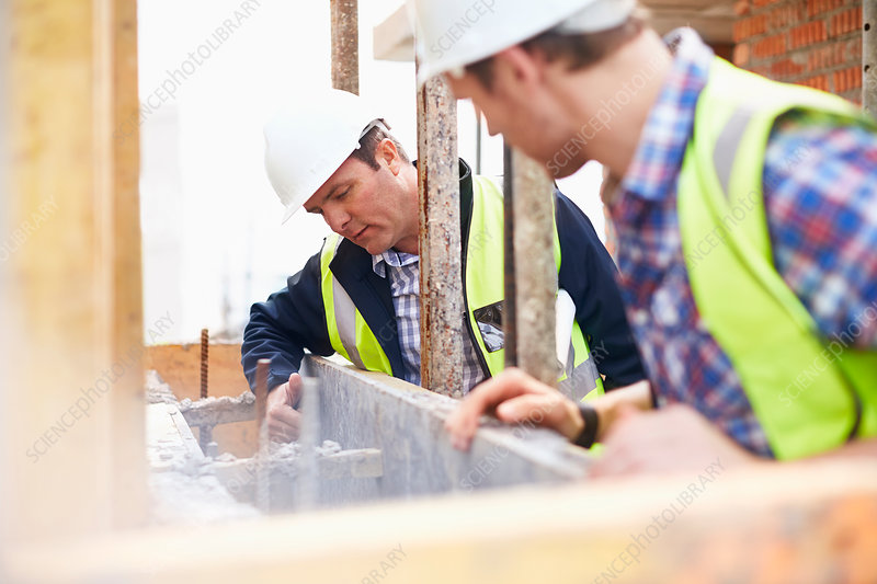 Construction workers examining structure