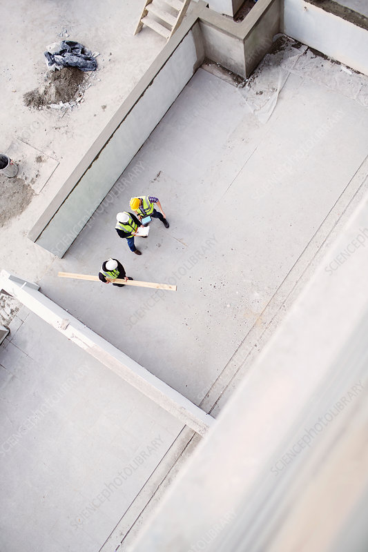 Overhead view of construction workers
