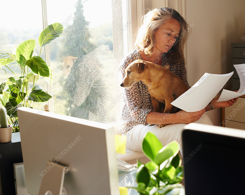 Woman with dog in sunny home office