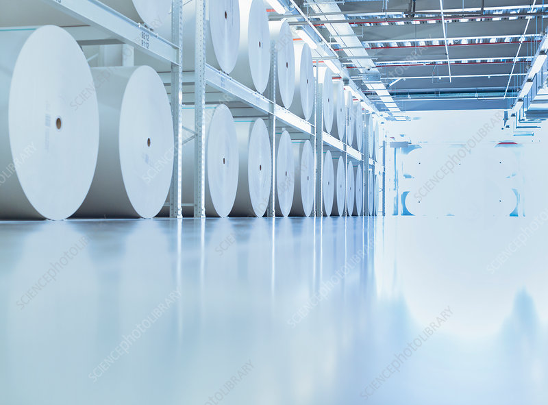 Large spools of paper in printing plant