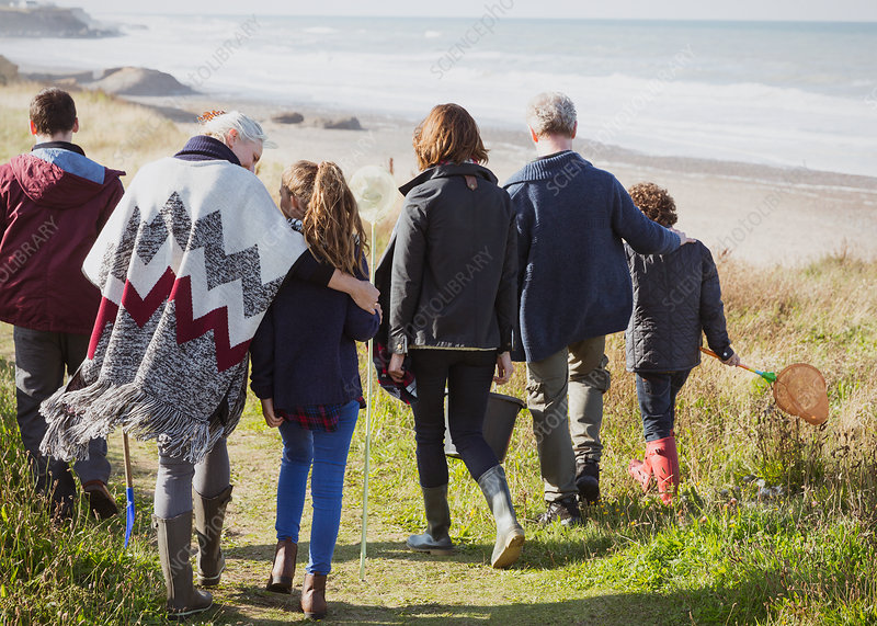 Family walking on grass beach path