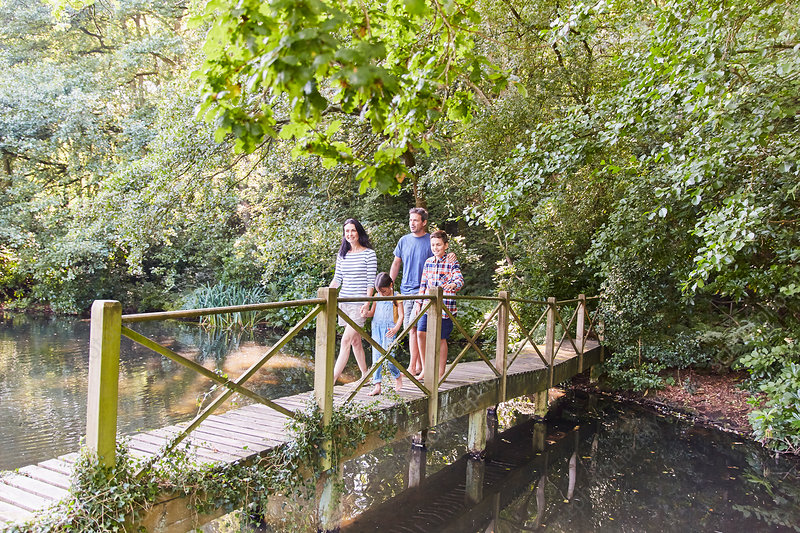 Family crossing footbridge with trees