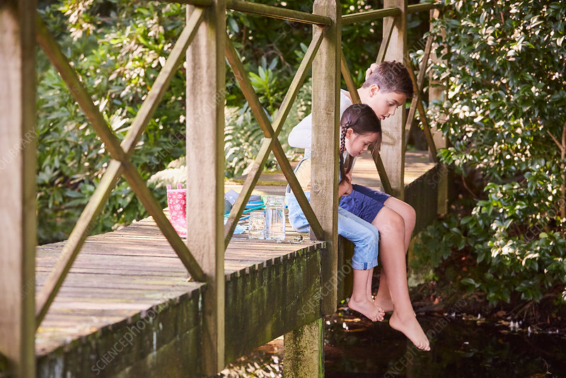 Siblings dangling feet off bridge