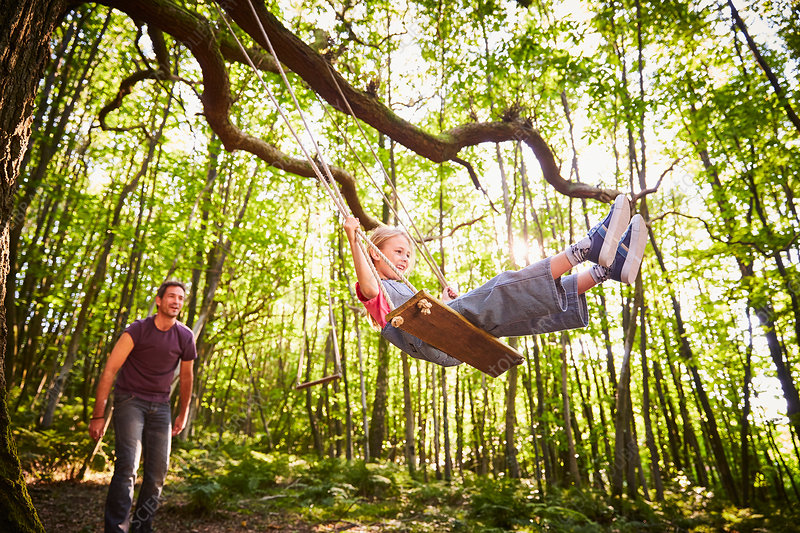 Father pushing daughter on rope swing