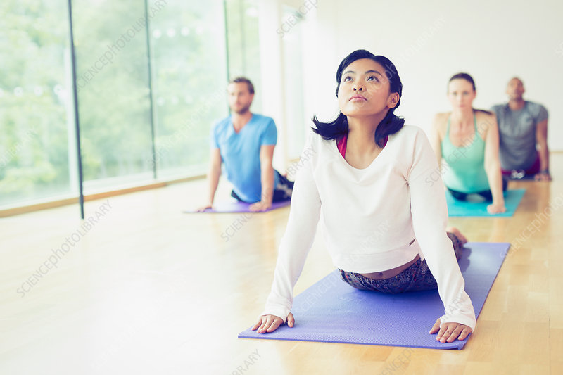 Woman in upward facing dog position