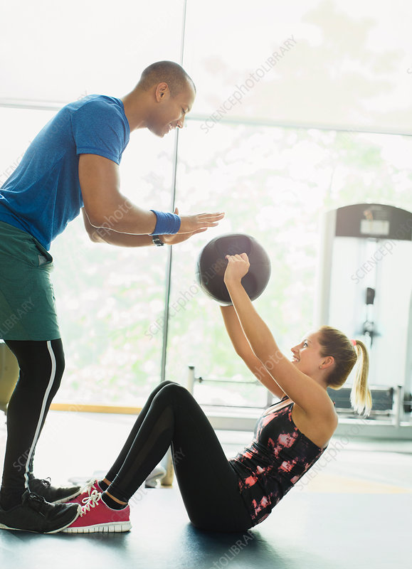 Personal trainer and woman