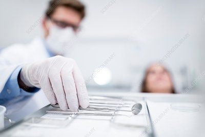 Dentist holding angled mirror