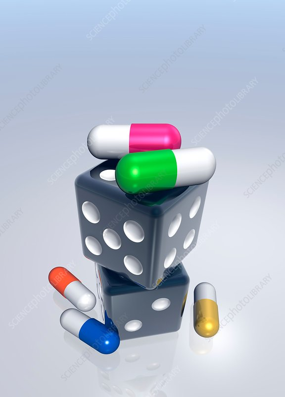 Capsules on top of dice