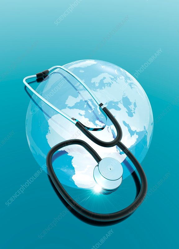 Stethoscope and planet earth