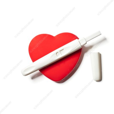 Pregnancy test on red heart
