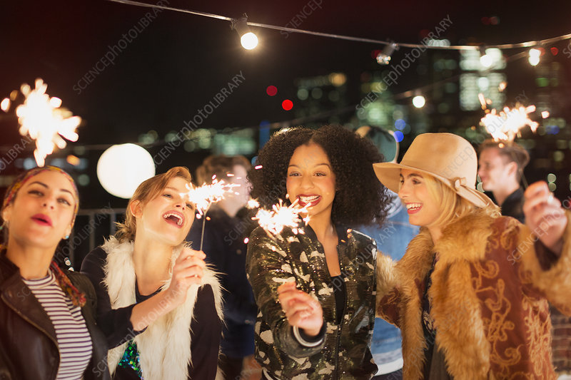 Young women with sparklers