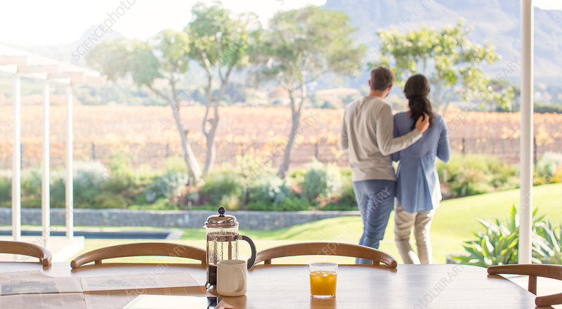 Couple hugging on patio overlooking field