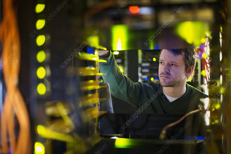 Server room technician working