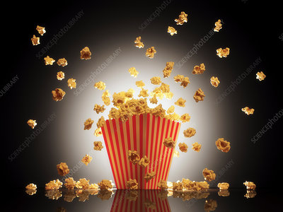 Popcorn exploding from bucket