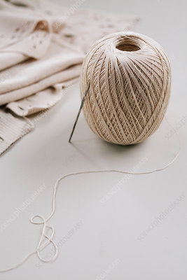 A ball of string or thread, crochet hook