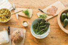 Lox, asparagus, pasta, bread and butter