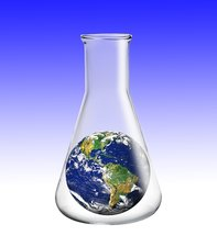 Laboratory flask with planet earth