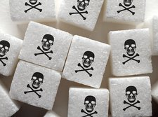 Sugar lumps with skull and crossbones